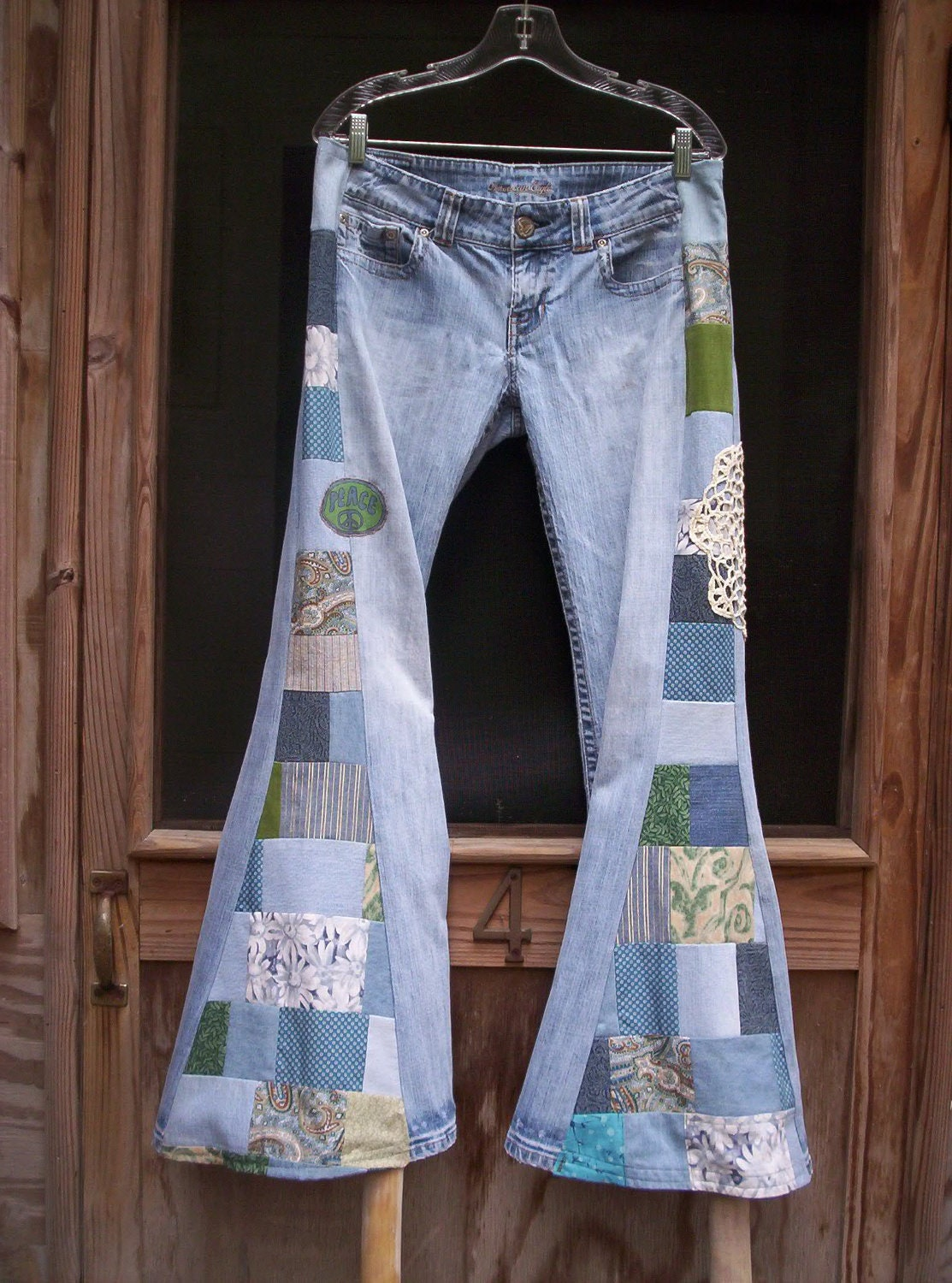 Patchwork Bell Bottoms Hippie Jeans Pants Ready To By