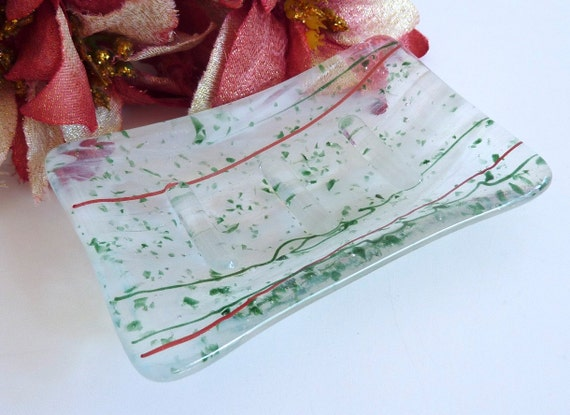 Glass Soap Dish in Holiday Festive Colors