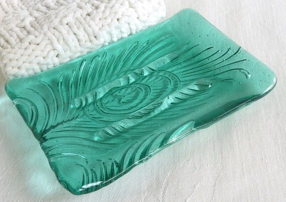 Peacock Feather Imprint Soap Dish in Pale Aquamarine Fused Glass