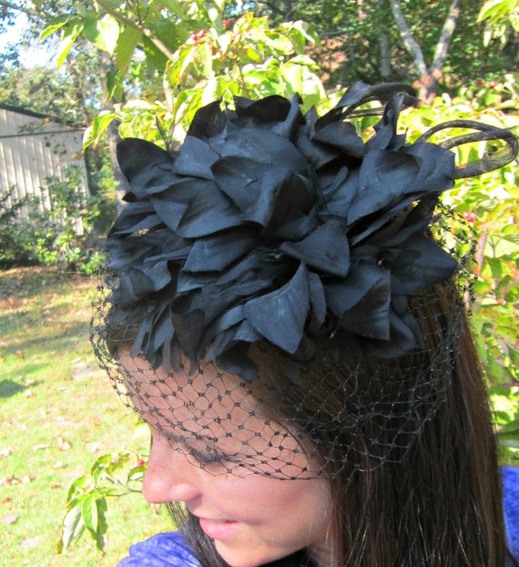 vintage fascinator - large black floral with veil / netting / union made
