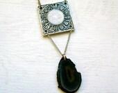 Scorpio. Agate Stone Zodiac Sign Necklace.