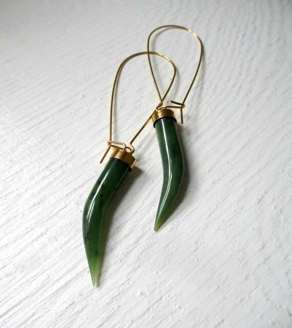 Vintage Jade Horn Earrings.