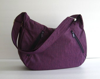 Sale - Deep Plum Water Resistant nylon Messenger Bag - Diaper bag, Tote, Travel bag, Crossbody - SANDRA