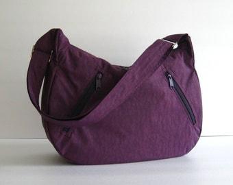 Sale - Deep Plum Water Resistant nylon Messenger Bag - Diaper bag, Tote, Travel bag, Crossbody - SANDRA