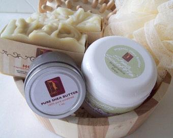 Fragrance Free Spa Gift, Soap Gift Set, Unscented Soap, Gift Set, Sensitive skincare,  Shea Body Butter, Oatmeal soap, Honey soap