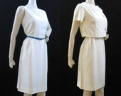 50s 60s Dress Vintage White Rayon Dress Suit Wiggle Sheath and Topper M
