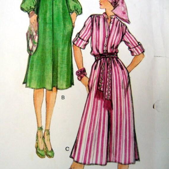 VINTAGE sewing pattern VOGUE Paris OriginalYes Saint Laurent tent DRESS tunic and wide pants size 10 uncut
