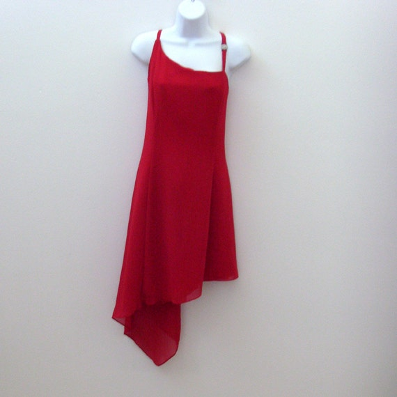 RESERVED for H --- Vintage Red Cocktail Dress / Lady in Red Fashion / 1980s Red Crepe Party Dress / Scott McClintock / Size 12 / Made in USA