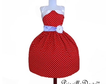 Summer Sale Red Polkadot Rockabilly Dress Betty with Purple Sash and Flower Collection Custom in Your Size