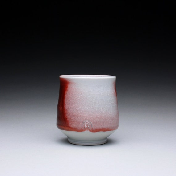 porcelain tumbler - cup - tsutsu chawan with flashing red glaze and turquoise celadon glazes