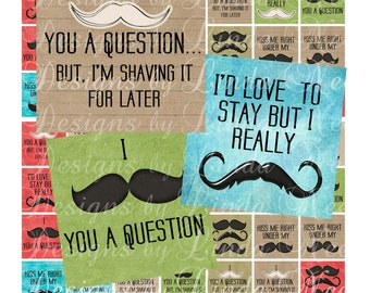 Instant Download - NEW- Mustache Quotes (.75 x .83 scrabble inch) Images  Sale - Digital Collage Sheet printable stickers magnet button