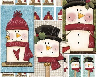 Instant Download - SNOWMAN Smores (1 x 2 inch) Domino Size Images Digital Collage Sheet  SALE - magnets stickers
