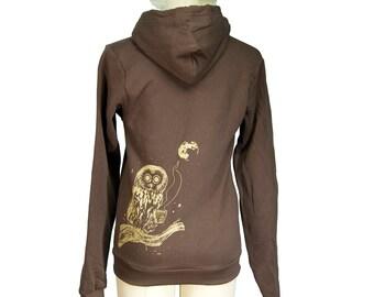 Brown Coffee Owl Zip Hoodie, Winter, Screen Printed, Unisex, Men, Women - Gifts for Him or Her