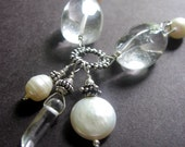 Statement Necklace - Quartz, Sterling Silver, Pearl - On the Rocks Necklace