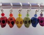 Rainbow skull stitch markers