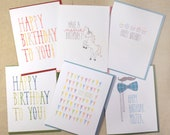 Assorted Set of Birthday Cards (6 total cards)