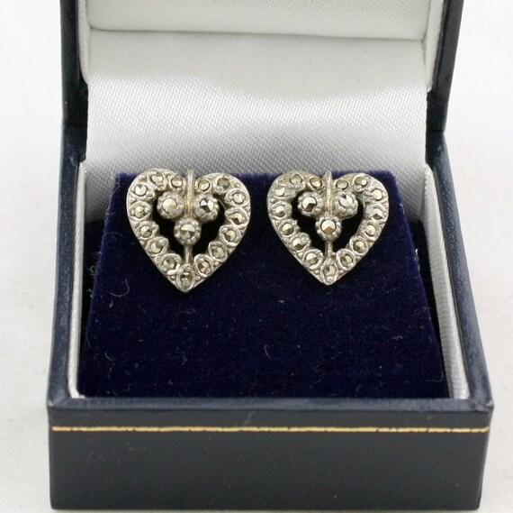 Vintage Marcasite Heart Pierced Earrings Studs