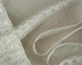 """3 yards of 3/4"""" IVORY  Insert Lace Satin Ribbon Trim Bridal  Pageant Baby Christening Scrapbooking"""
