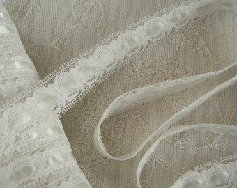 "3 yards of 3/4"" IVORY  Insert Lace Satin Ribbon Trim Bridal  Pageant Baby Christening Scrapbooking"