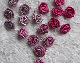 18pc Shabby Chic Baby Doll Pink Mauve Fuchsia Satin Ribbon Rose Flower Applique Hair Bow
