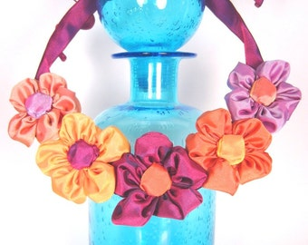 Ribbon daisy statement necklace: French ribbon daisies in fuchsia, orange and lavender -- conversation jewelry that attracts attention