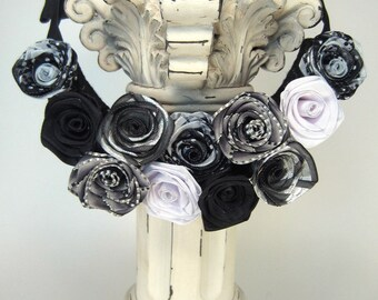 Ribbon rose bib statement necklace: individually handmade French ribbon roses in black and white -- artisan jewelry that gets attention