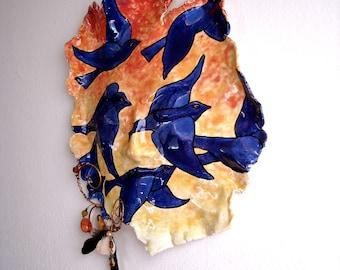 Black Bird & Dawn Sun Sculpture Fine Art Mask - HandMade Painted Sunrise, Indigo Blue Birds 3D Face Wall Hanging - Inspiratoinal Plaque