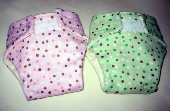 Baby Doll Diapers-Set of Two-Adjustable (Cloth) Fits Bitty Baby Alive, Cabbage Patch,American Girl Dolls and More
