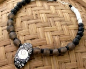 Gray & Black Necklace, Shell, African Glass Beads, Choker, Natural Wood - stoneandbone