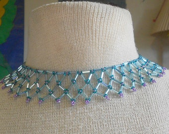 Netted Weave Beaded Choker Turquoise Teal Purple Adjustable Length OlyTeam