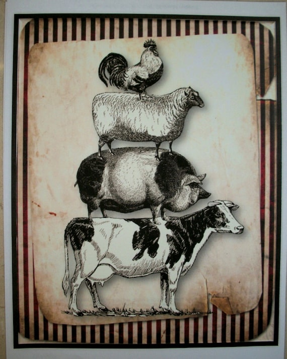 KITCHEN WaLL ART - Set of 5 - cows, pigs, roosters, chickens, pigs - stripes - KWA 02