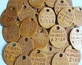 Antique Vintage Brass Tag Numbered Tag Kalamazoo Tag Tags