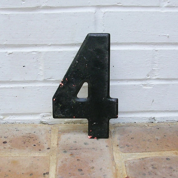 Vintage Metal Number 4 Chippy Painted Number 4 Sign Marquee Number 4 Metal Sign
