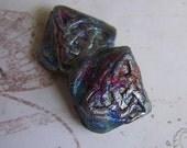Celtic Knot Mini Square Raku Beads