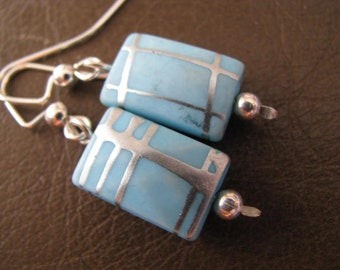 Sky Blue Mod Rectangles and Silver Earrings