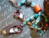 Bohemian Turquoise Orange Textile Fabric Necklace