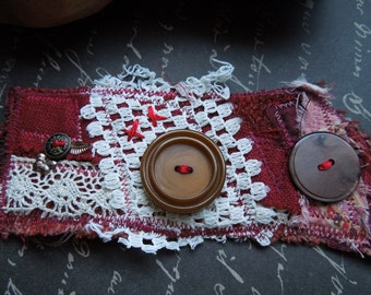 Red Upcycled Fabric Textile Bohemian Wrist Cuff Bracelet -Women in Red - Serafina