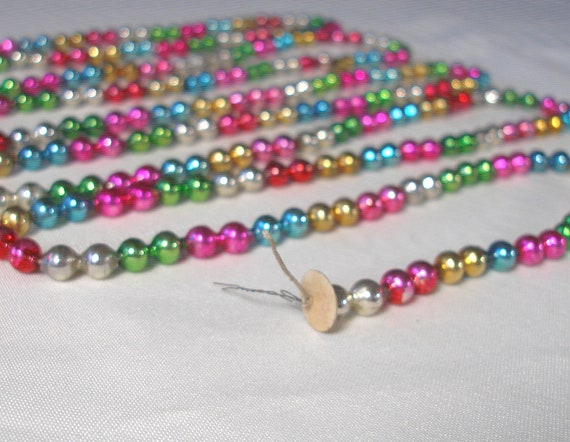 Antique mercury glass bead garland for feather by