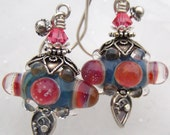 Fruit Punch Bubble- Artisan Lampwork and Sterling Earrings- Cynensemble