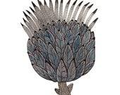 Thistle Print, botanical giclee art print, botanicals, artichoke flower, watercolor print