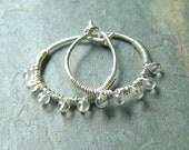 Silver Hoop Earrings Small wire wrapped hoops quartz gemstone beaded hoops eco friendly earring for Women