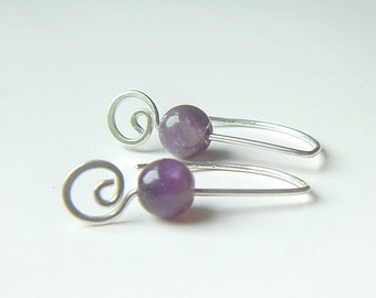 Amethyst Earrings Sterling Silver Coil Dangles eco friendly spring fashion February birthstone jewelry