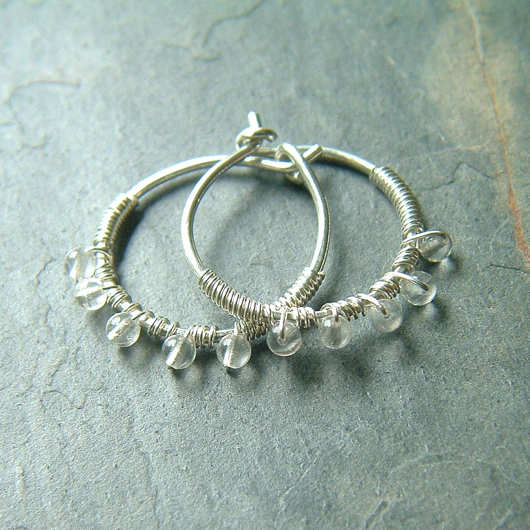 silver hoop earrings small wire wrapped hoops quartz gemstone. Black Bedroom Furniture Sets. Home Design Ideas