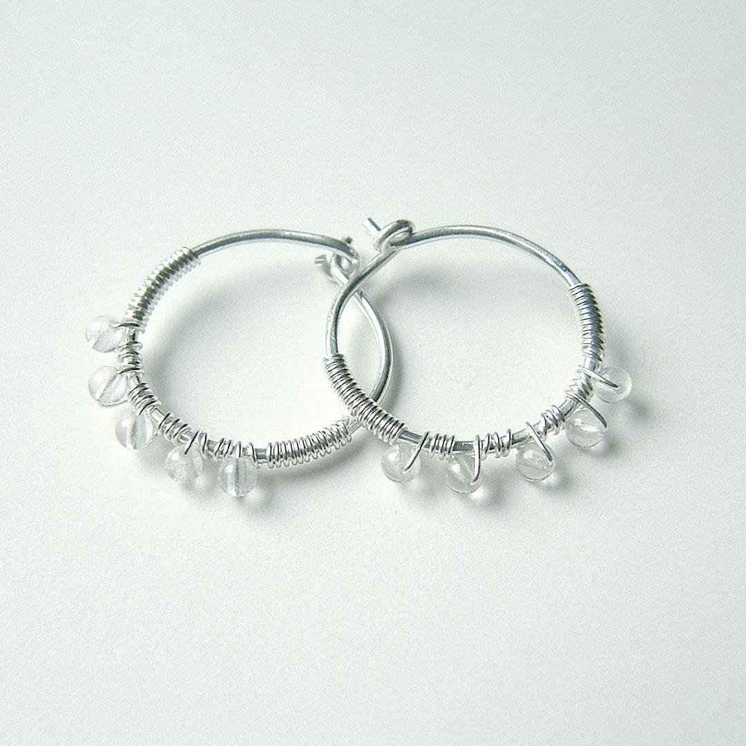 small beaded hoop earrings wire wrapped silver hoops by