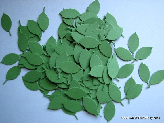 Green Leaves 100 DIY Paper Flowers Supplies, Die Cuts, Cut Outs, Use in Cardmaking, Scrapbooking, Paper Crafts, Invitations, Home Decor