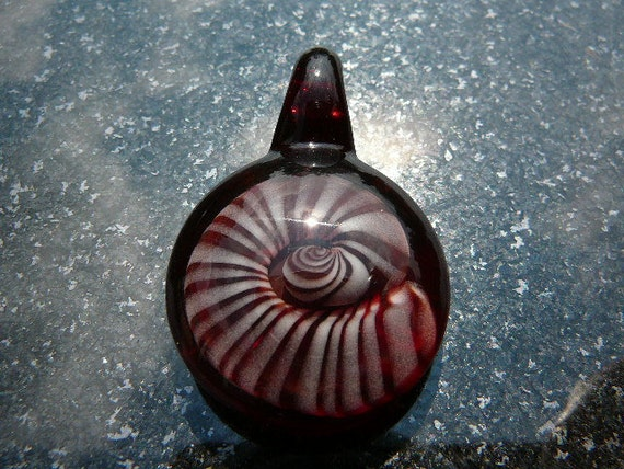 Glass Vortex Implosion Ammonite Shell Pendant---Majestic Glass Arts---