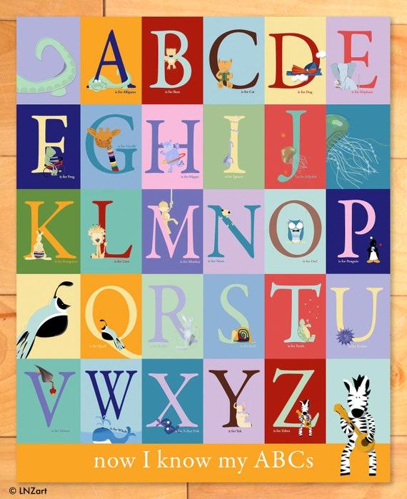 Baby Nursery Art Print Dog Abc Nursery Decor Alphabet Print: Items Similar To Kids Art, Childrens Wall Art, ABC