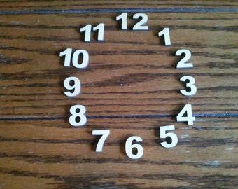 Miniature Basswood Wood Clock Numbers - Wood2art - 15 Laser Cut 1 inch pieces  Ariel Black -Font.