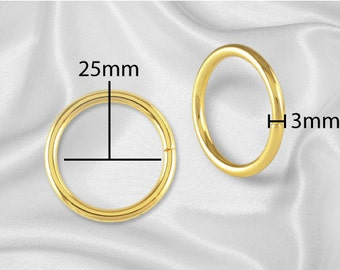 "10pcs - 1"" Metal O Rings Non Welded Gold - Free Shipping (O-RING ORG-110)"