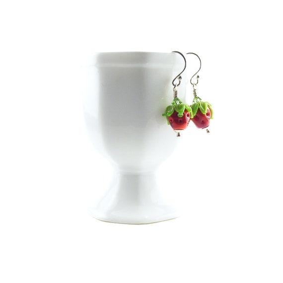 Strawberry Beaded Earrings, Handcrafted Lampwork Glass & Sterling Silver, Red Strawberries, Handmade Lampwork Bead Earrings